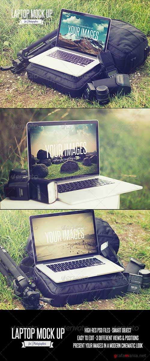 GraphicRiver Laptop - Realistic Photographer Mock Up