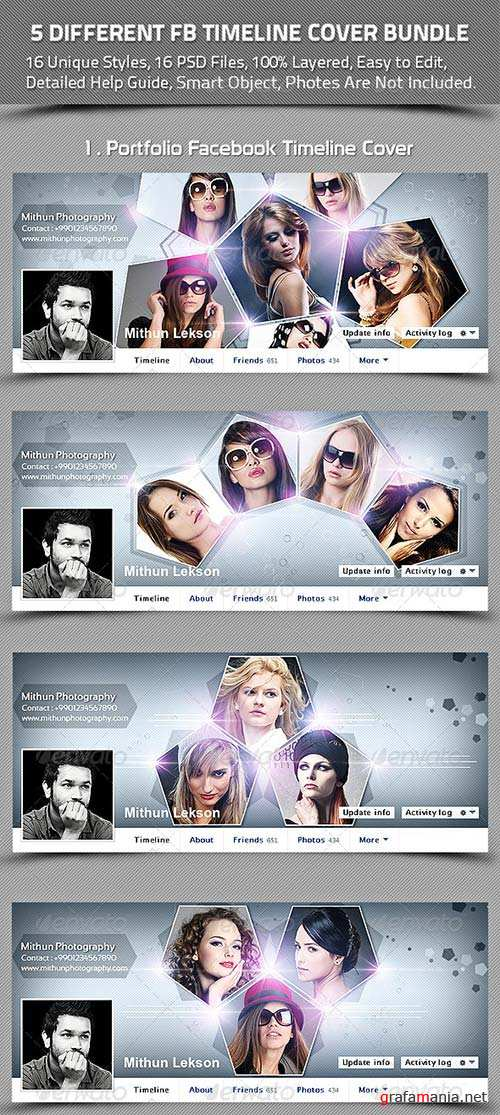 GraphicRiver 5 Different Facebook Timeline Cover Bundle