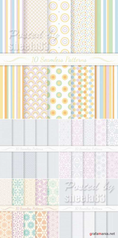 Pastel Seamless Patterns Vector