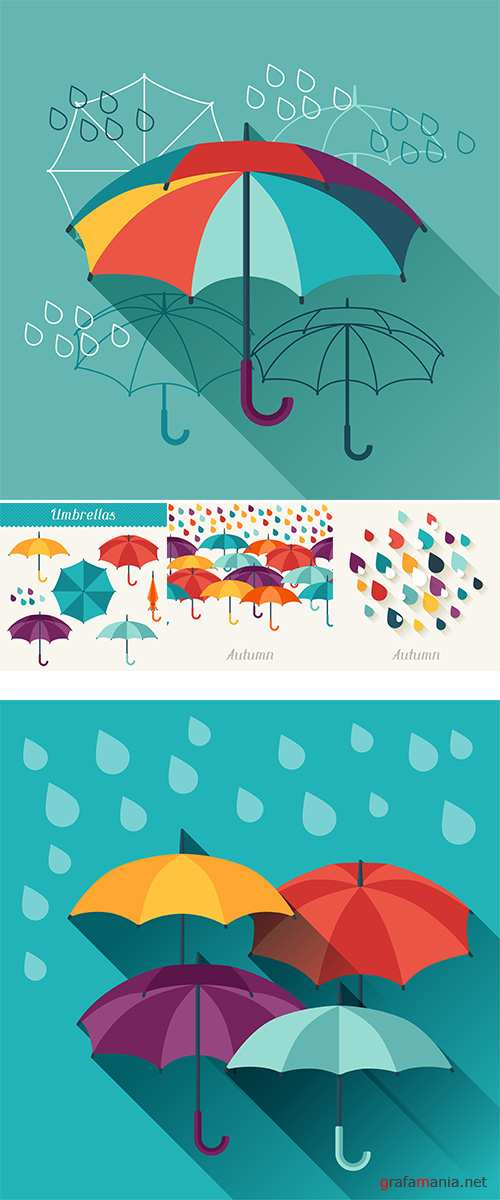 Stock: Card with umbrellas in flat design style