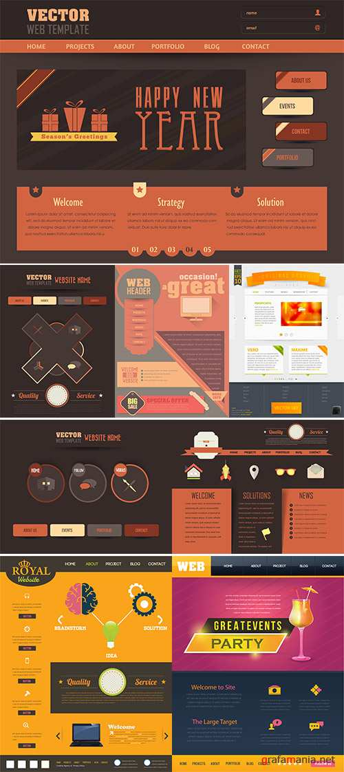 Stock: Vector Business Concept Website Design, Flat Elements