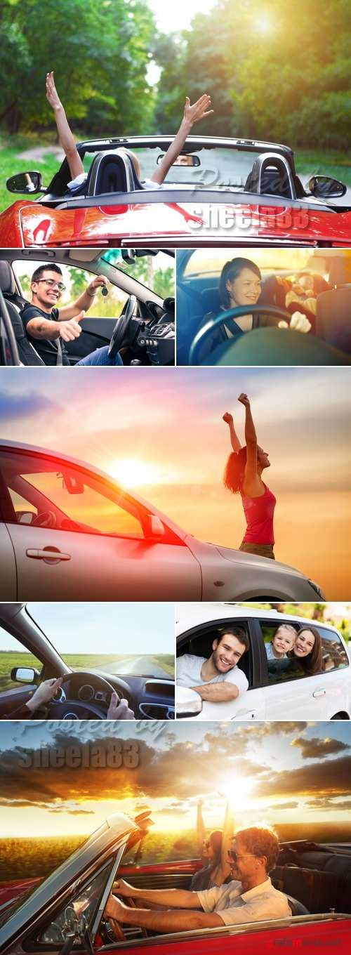 Stock Photo - People Driving the Car