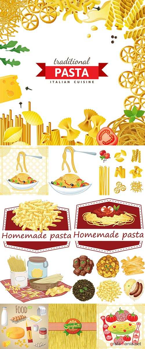 Stock: Food decorative elements collection, Pasta
