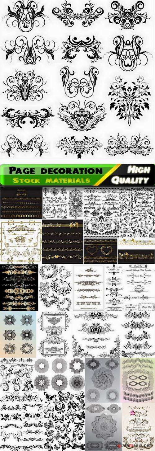 Set of calligraphic elements for page decoration in vector from stock - 25 Eps