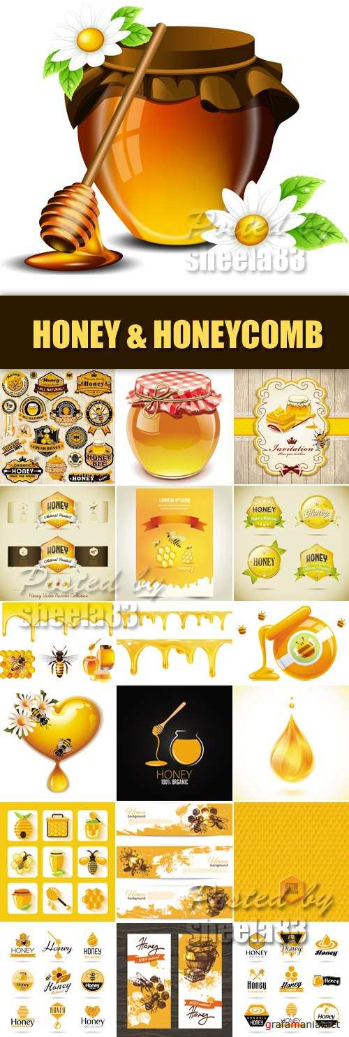 Stock Vector - Honey, Honeycomb, Bees