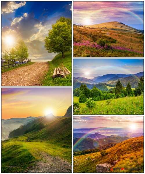 Light on stone mountain slope with forest - Stock Photo