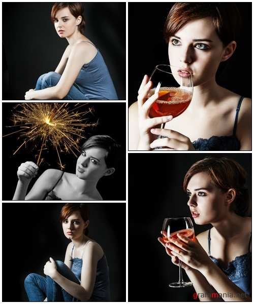 Girl with glass of wine - Stock Photo