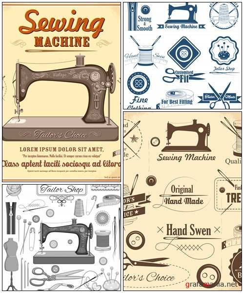 Vintage style sewing and tailor label - vector stock