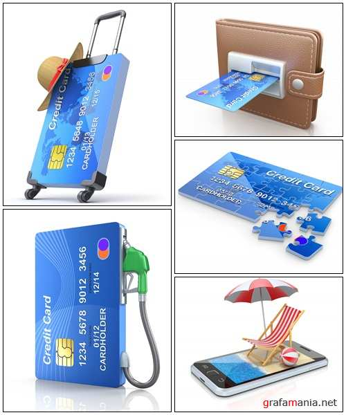 3D concept with credit card - Stock Photo