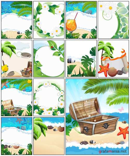 Summer tropical background - vector stock