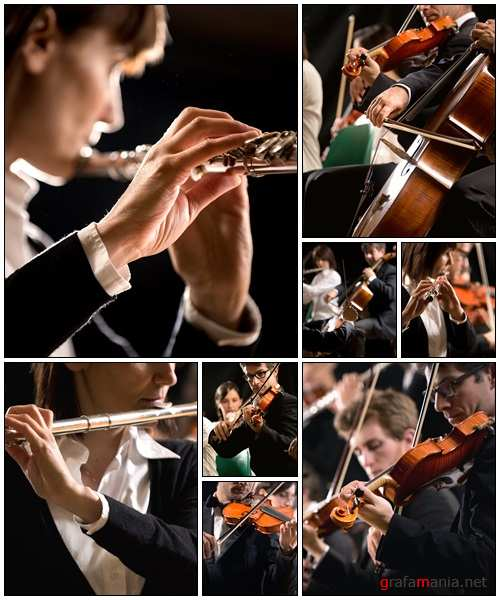 Classical music concert symphony orchestra on stage - Stock Photo