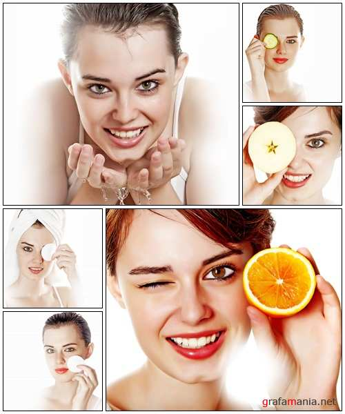 Skincare concept - portrait of young woman - Stock Photo