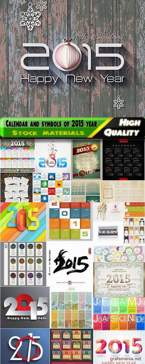 Calendar for 2015 year and design symbol for new year - 25 Eps