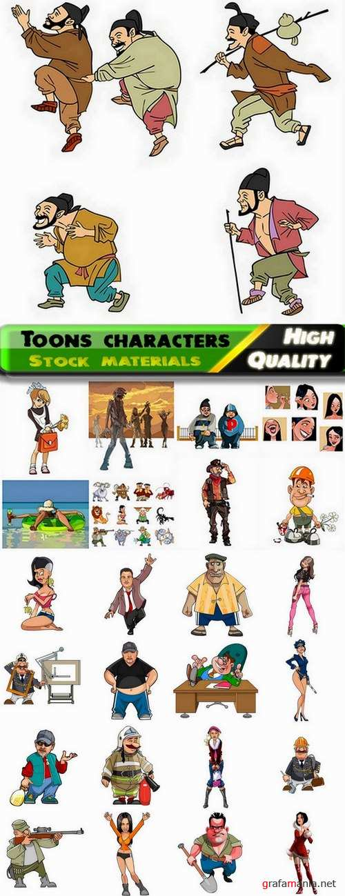 Beautiful toons character illustrations in vector from stock - 25 Eps