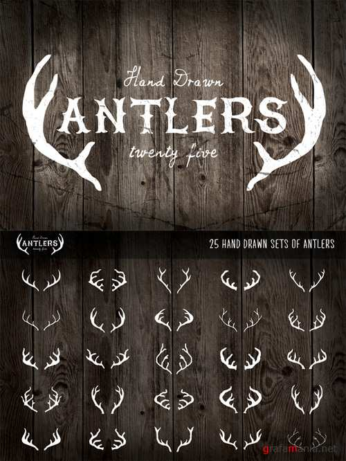 25 Hand Drawn Antlers Vector Set