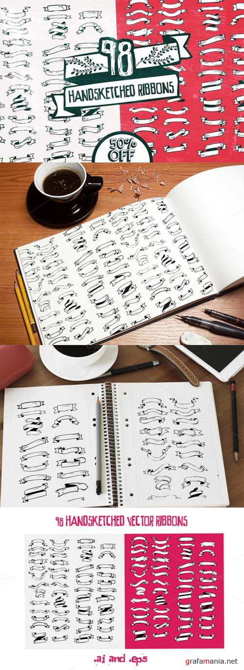 Handsketched Ribbons Vector Set