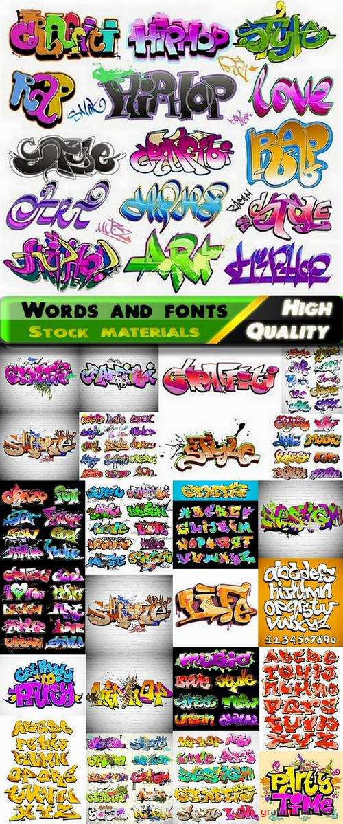 Words and fonts in graffiti style in vector from stock - 25 Eps