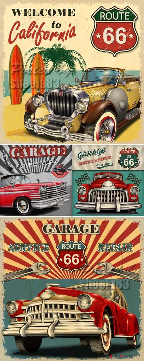 Retro Car Posters Vector