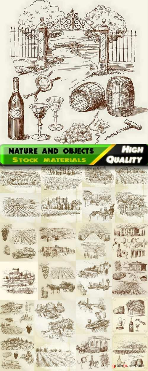 Set of Hand drawing illustration nature and objects in vector from stock - 25 Eps
