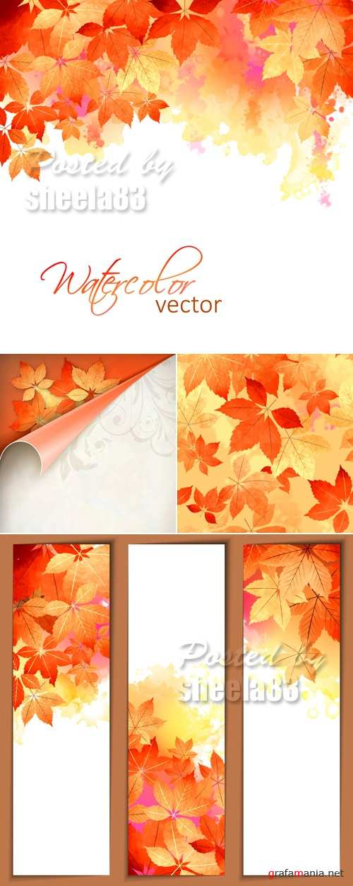 Autumn Leaves Backgrounds Vector 8