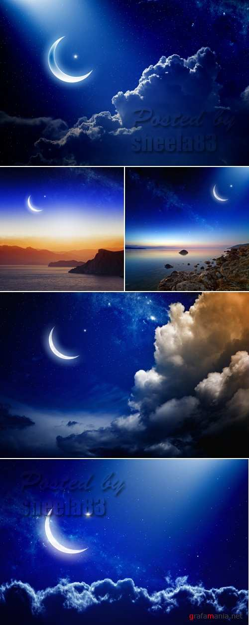 Stock Photo - Moon & Clouds