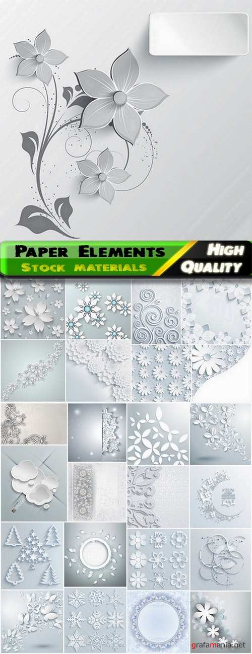 Beautiful white paper leaves and flowers and backgrounds in vector from stock - 25 Eps