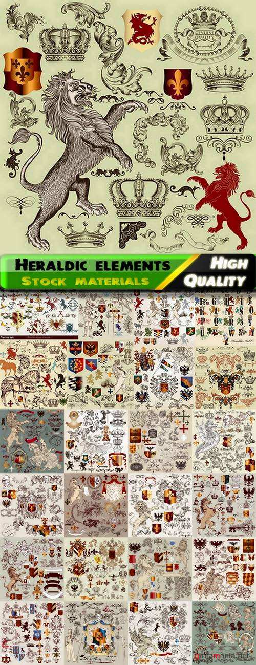 Heraldic elements and page decoration elements in vector from stock - 25 Ai