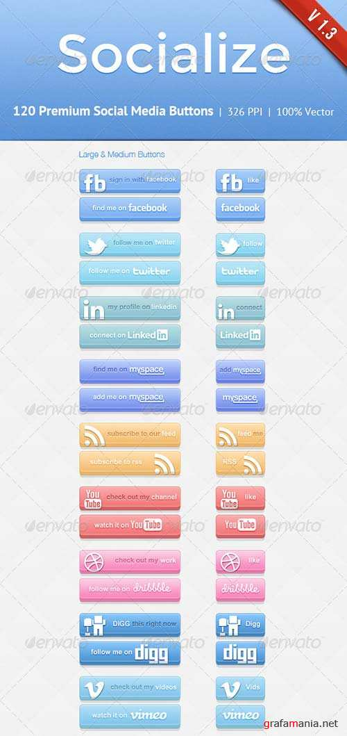 GraphicRiver Socialize Social Button Kit