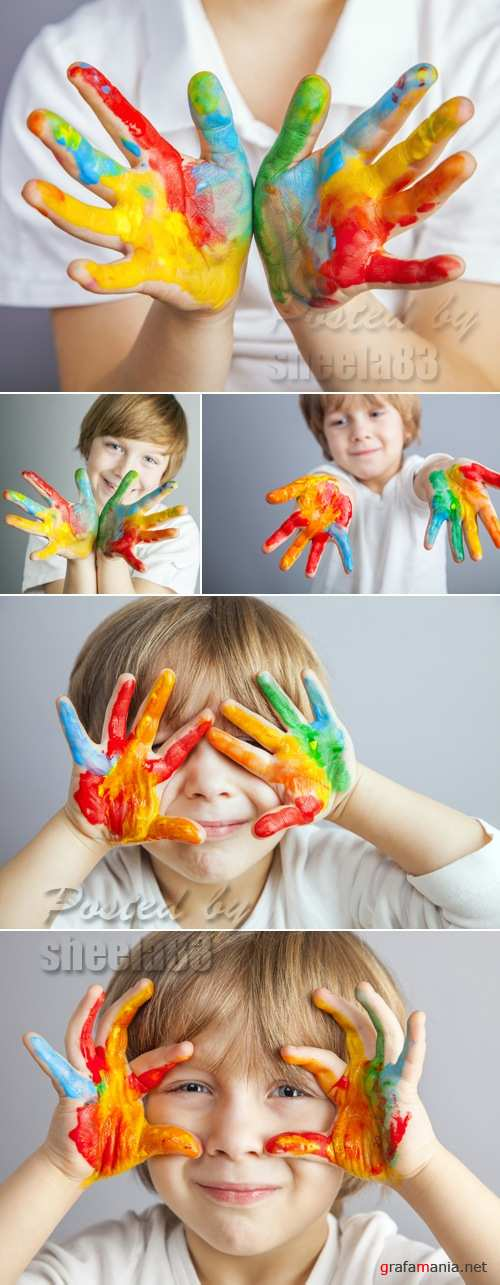 Stock Photo - Child Painted Hands