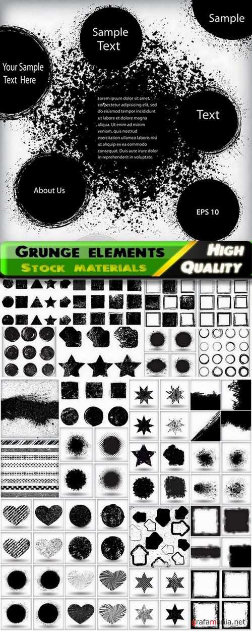 Grunge design elements and backgrounds in vector from stock - 25 Eps