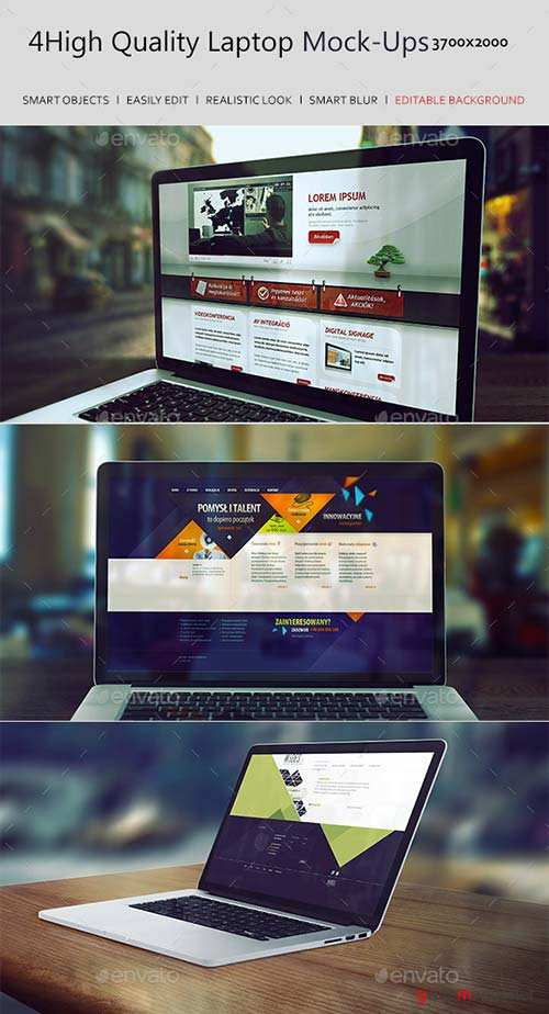 GraphicRiver 4 High Quality Laptop Mock-Ups