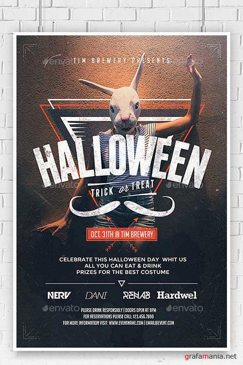 GraphicRiver Hipster Halloween Flyer Template