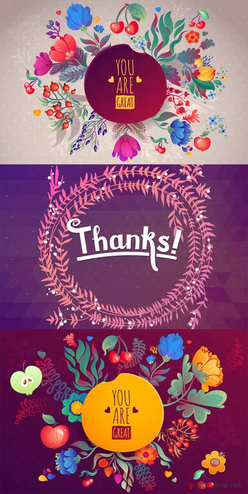3 Cute Floral Cards Vector Set