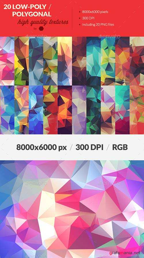 GraphicRiver 20 Low-Poly Polygonal Background Textures
