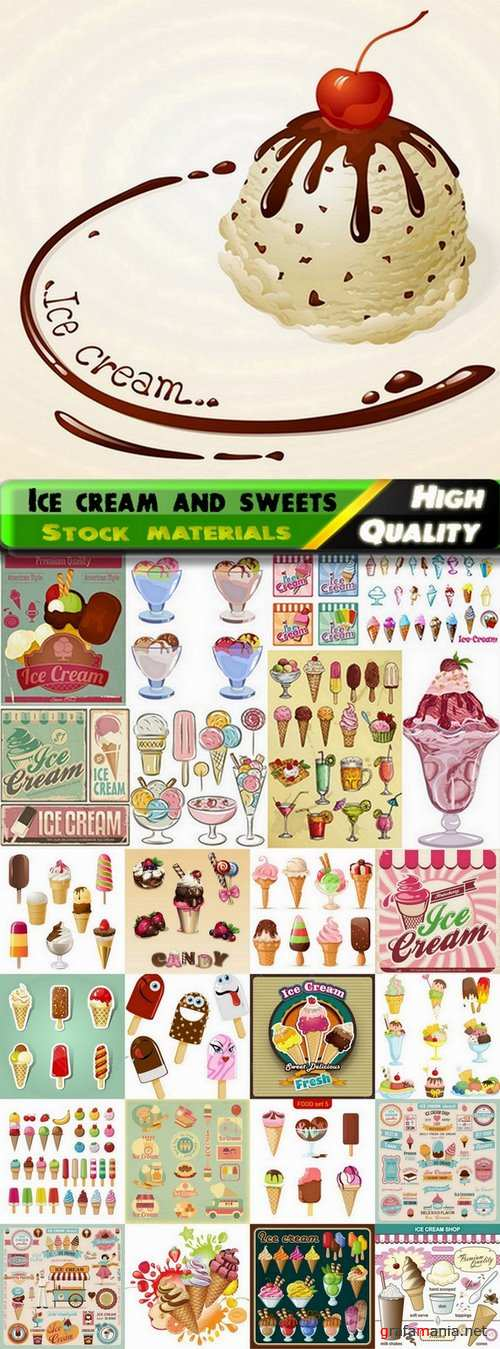 Vector ice cream and sweets from stock - 25 Eps