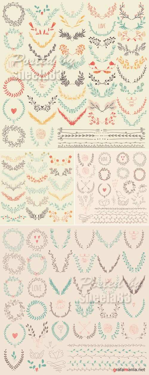 Simple Floral Elements Vector