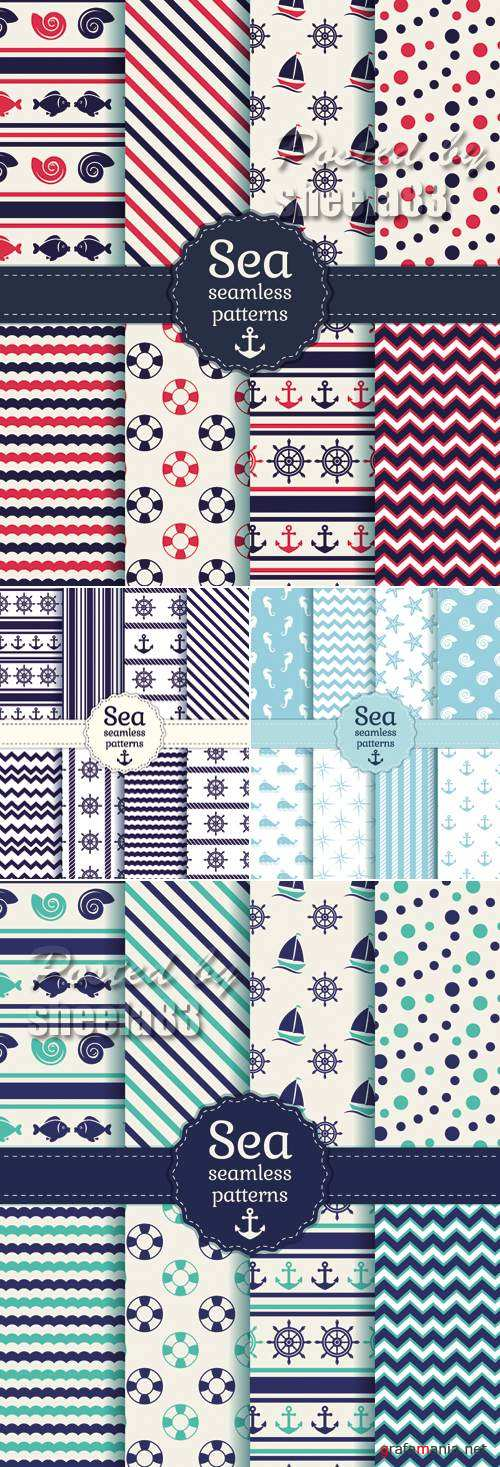 Sea Seamless Patterns Vector 2