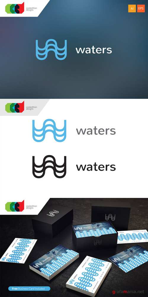 Waters - Logo Template plus Business Card