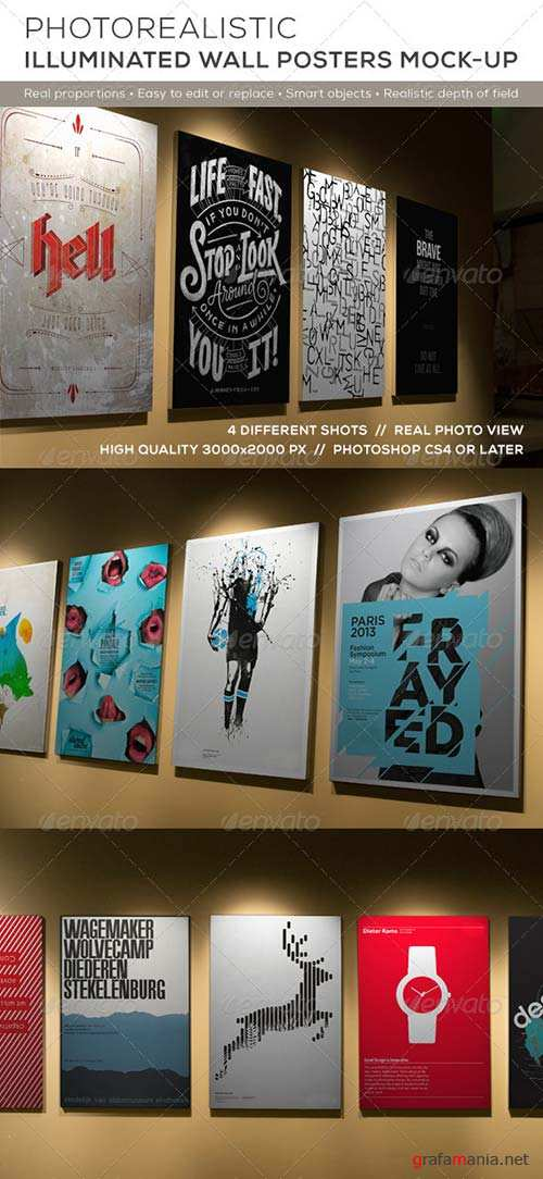 GraphicRiver Posters Mock-up on Illuminated Wall
