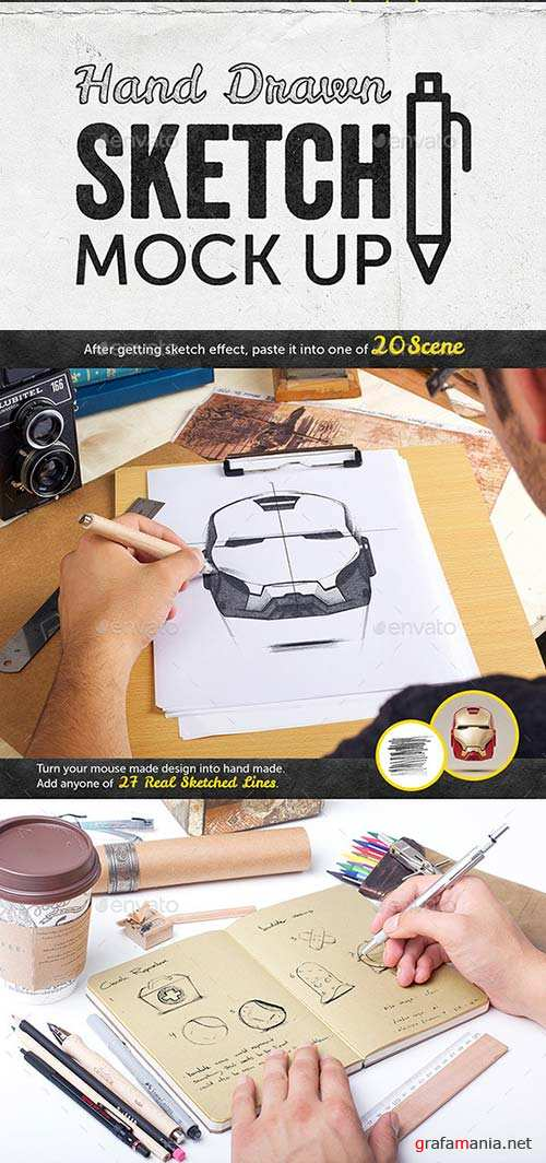 GraphicRiver Hand Drawn Sketch Mock Up Pack