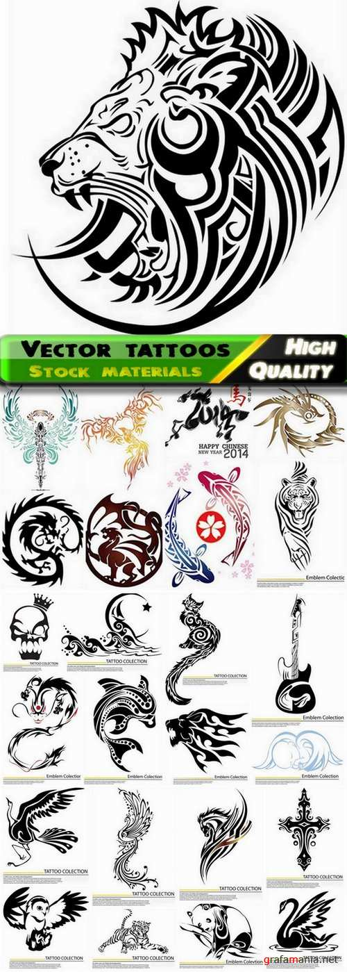 Different vector tattoos from stock - 25 Eps