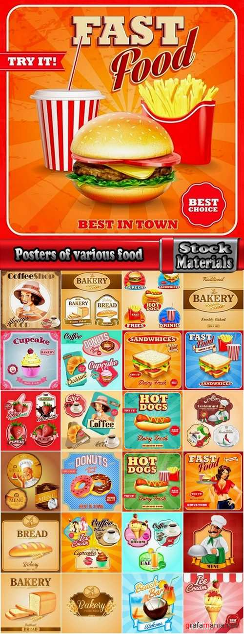 Posters of various food in vector from stock 25 Ai
