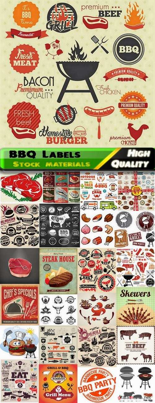 BBQ Labels and design elements in vector from stock - 25 Eps