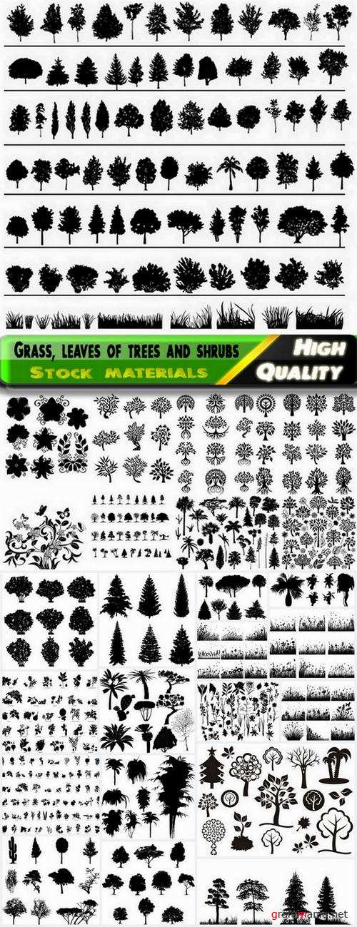 Silhouettes of grass leaves of trees and shrubs - 25 Eps