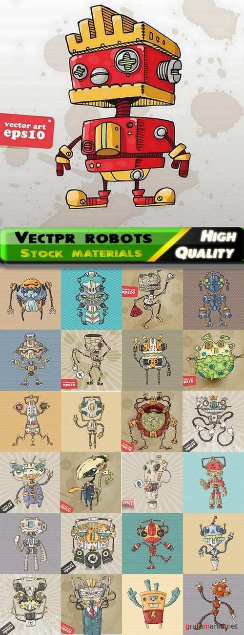 Illustrations of different vectpr robots from stock - 25 Eps