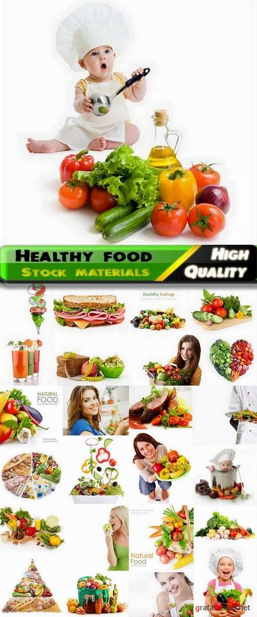 Healthy food isolated on white Stock images - 25 HQ Jpg
