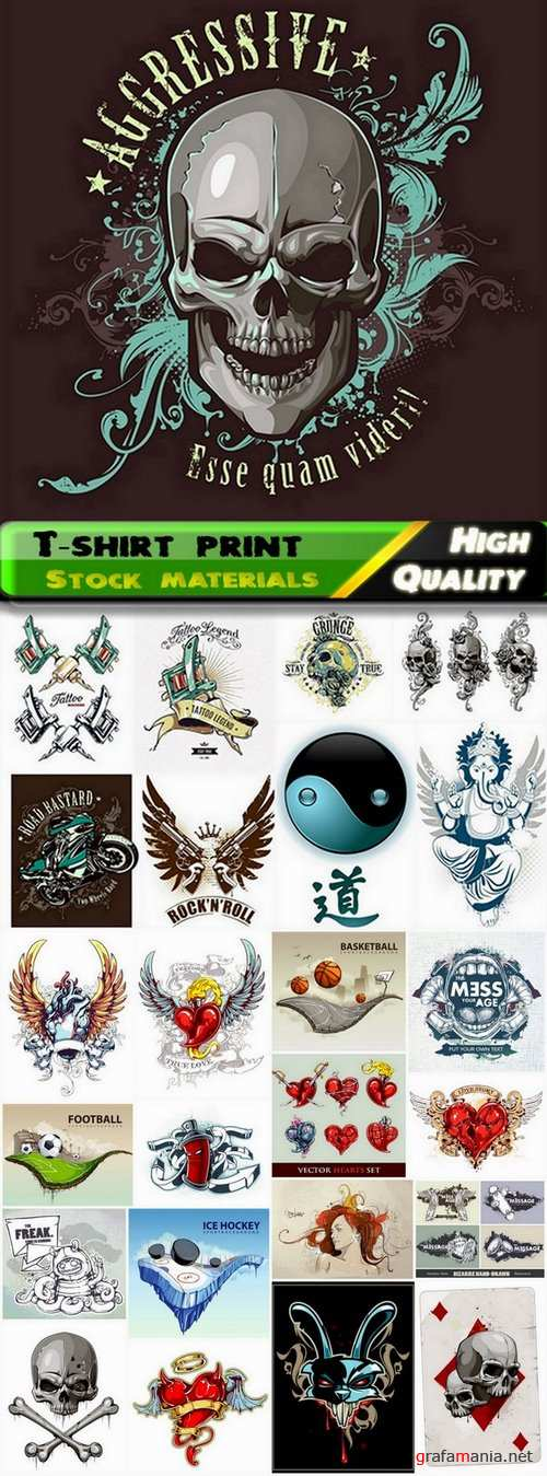 T-shirt print design in vector from stock #3 - 25 Eps