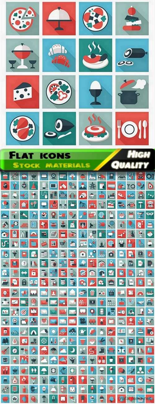 Flat icons and flat elements in vector from stock - 25 Eps