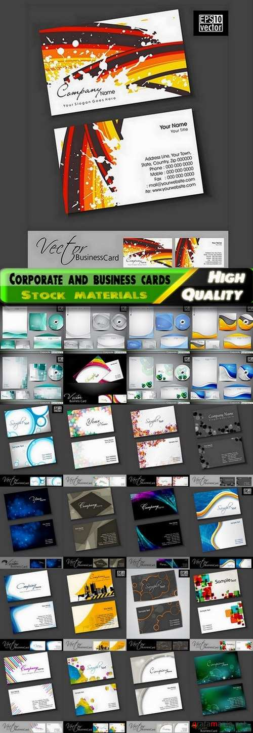 Corporate template design and business cards - 25 Eps