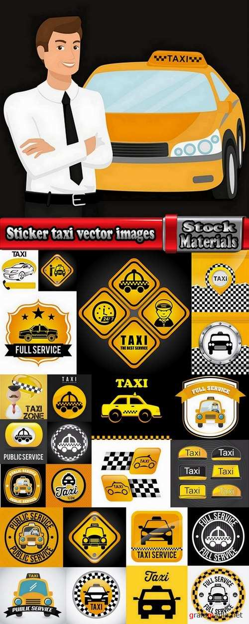 Sticker taxi vector images 25 Eps
